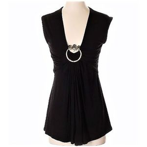 Cache Casual Black Stretchy Top with Gold O-ring